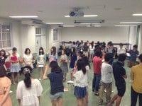 青山学院大学 United Rhythm Carriersの練習風景。女性が多いのが分かりますね。