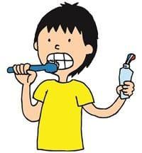 手に歯磨き粉をもって歯を磨いている男子のイラスト