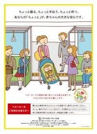 「鉄道での安全なベビーカー利用に関するキャンペーン」で駅や施設に貼られたポスター
