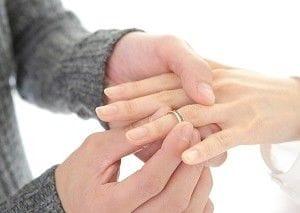 女性の左手の薬指に指輪