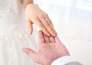 結婚指輪をした新郎新婦の手
