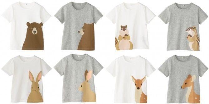 動物モチーフのプリントTシャツ