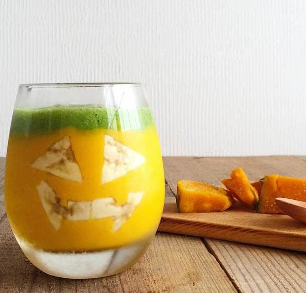 かぼちゃとヨーグルトと小松菜のスムージー
