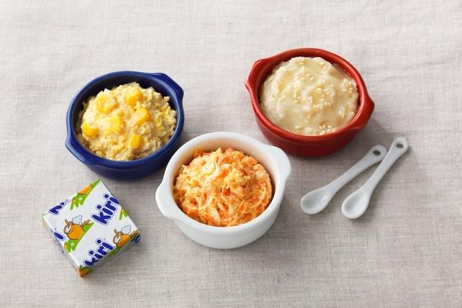 写真左上から時計回りに「スクランブルエッグクリームチーズディップ」、「はちみつ白ごまクリームチーズディップ」、「にんじんクリームチーズディップ」。クリームチーズはいずれもキリを使用。