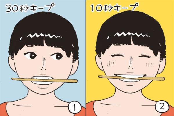 口角を上げる。割り箸トレーニング