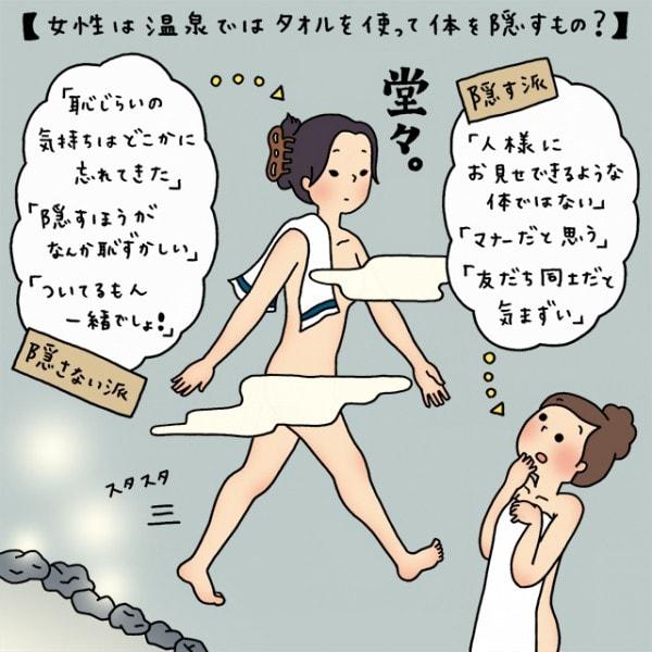 イラストコラム】女性は、温泉ではタオルを使って体を隠すもの ...