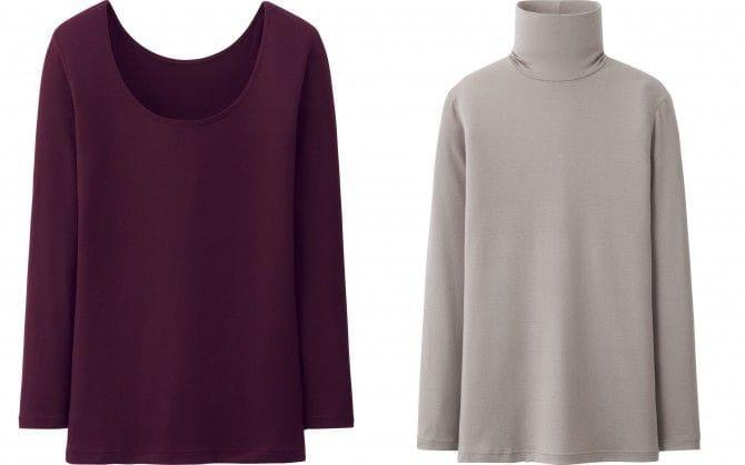 「ヒートテック」シリーズ(ユニクロ)。写真左は「UネックT/8分袖」990円。 ※WINEは一部店舗のみ販売です。右は「タートルネックT」990円。いずれも税抜