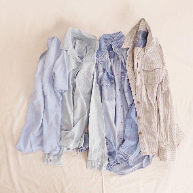左から半袖デニムシャツ・薄手のデニムシャツ・メンズデニムシャツ・ヒッコリーデニムシャツ