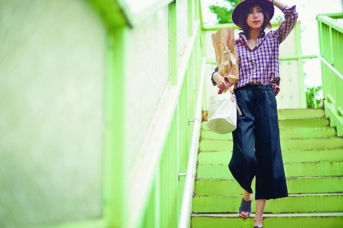 style02:CHECK SHIRT&GAUCHO PANTS(チェックシャツ5,292、ガウチョパンツ7,452、ハット7,020、バッグS7,452)