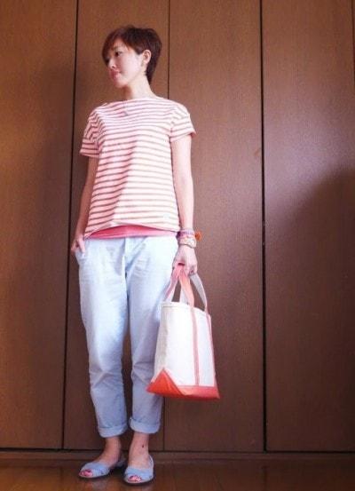 ピンク×サックスブルー