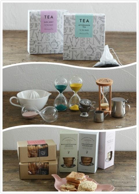 上から下:(step1)茶葉を選ぶ、(step2)ポットなどのティーアクセサリーを選ぶ、(step3)紅茶に合うスイーツも選べる。
