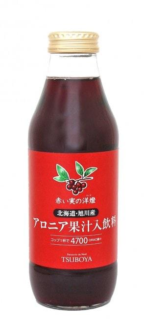 ジュースなら、目覚めの1杯としても楽しめます。[壺屋総本舗:赤い実の洋燈 アロニア果汁入飲料 500ml(アロニア果汁50%) 980 円 http://www.tsuboya.net/products/list38.html]