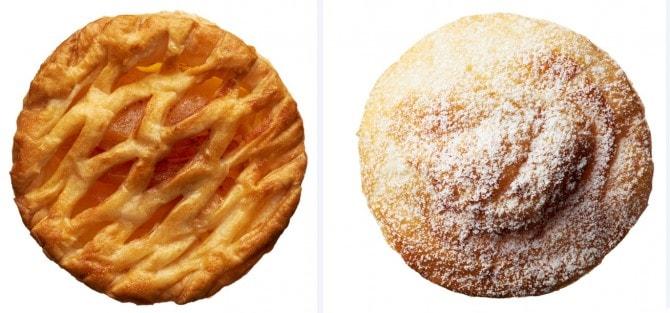 シナモンの風味がきいた「りんご」(画像左)と、ラム酒の香りが大人な雰囲気の「ラムレーズンバター」 (画像左) 各280円(税抜)