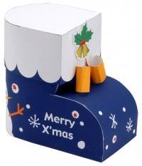 「クリスマス ブーツボックス」(サンワサプライ)完成写真。ペーパーミュージアム(http://paperm.jp/template/template.asp?code=ev_bootsbox)から無料でダウンロードできる