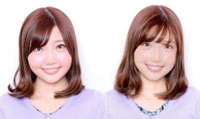左:普段のメイク 右:すっぴん風メイク