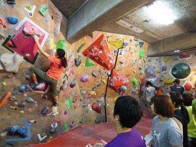 壁の高さが低く、ロープを使わずに登れるので、初心者でもOK