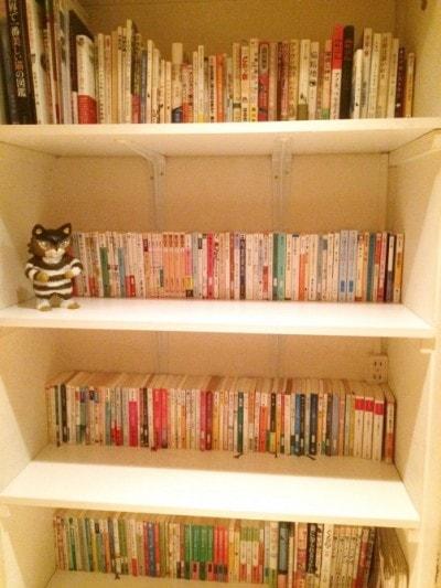 本棚には猫に関する本がいっぱい!