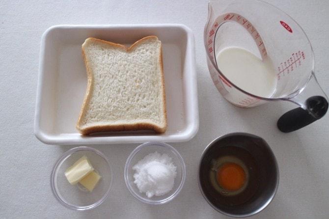 フレンチトーストの材料