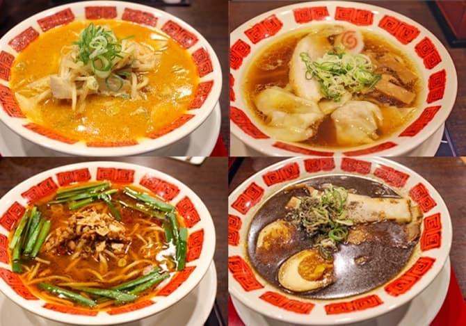 左上から時計まわりに、「札幌味噌ラーメン」、「喜多方ラーメン」、「富山ブラックラーメン」、「【名古屋】台湾ラーメン」