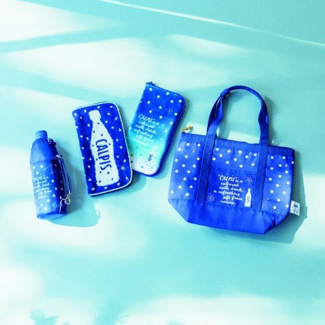 (写真左から)「ボトルカバー」1,620円、「タオルポーチ」各1,512円、「保冷バッグ」2,376円