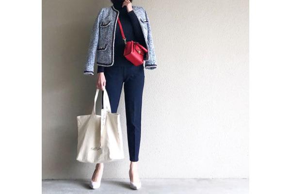 一目置かれるツイードジャケットは、ネイビーでまとめて好バランスに #東京365日コーデ