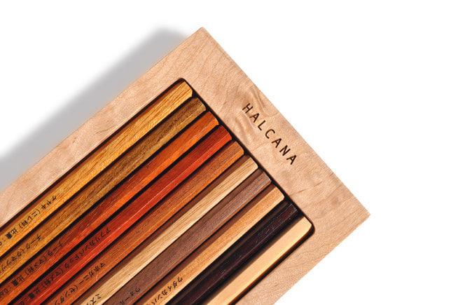 ケヤキ、ヒノキなど。1本1本異なる木材でできた「樹木鉛筆」