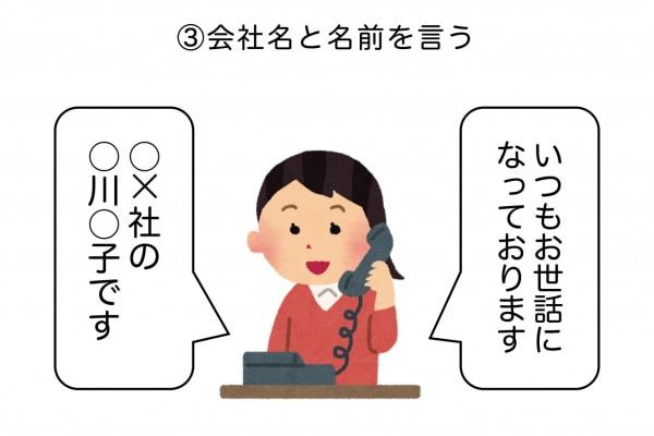 正しい電話のかけ方3:会社名と名前を述べる