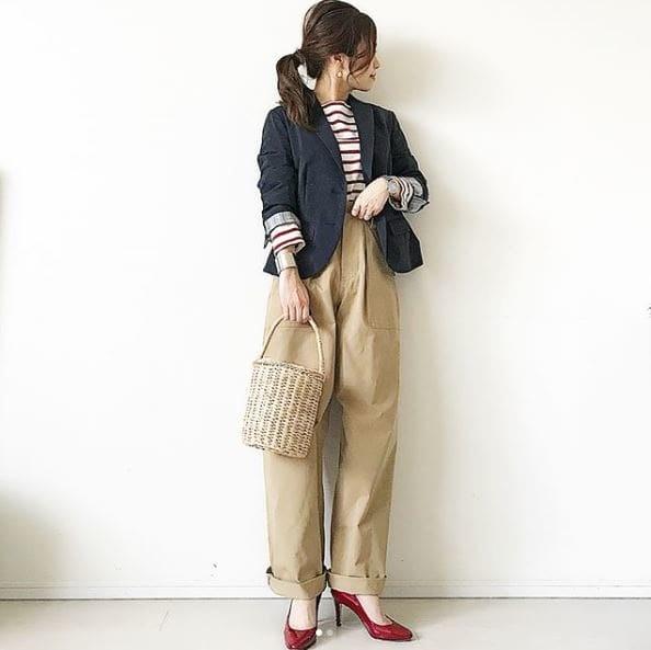 紺ブレとルーズチノで作る。カジュアル通勤スタイル #東京365日コーデ