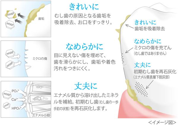アパガードに含まれる「薬用ハイドロキシアパタイト」3つの作用の図