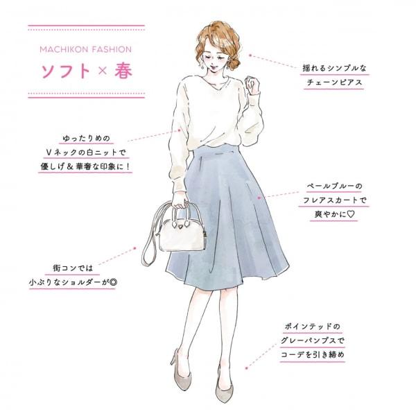 街コンの春ファッション(ソフトな印象の女性向け)