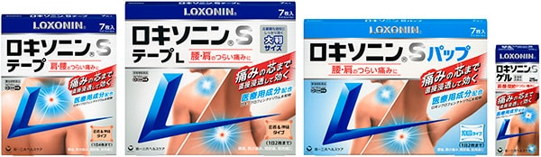 ロキソニンSテープ/テープL/パップ/ゲル 要指導医薬品 肩・首筋・腰の痛み