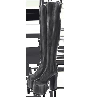 90年代ファッションアイテム「ニーハイ厚底ブーツ」