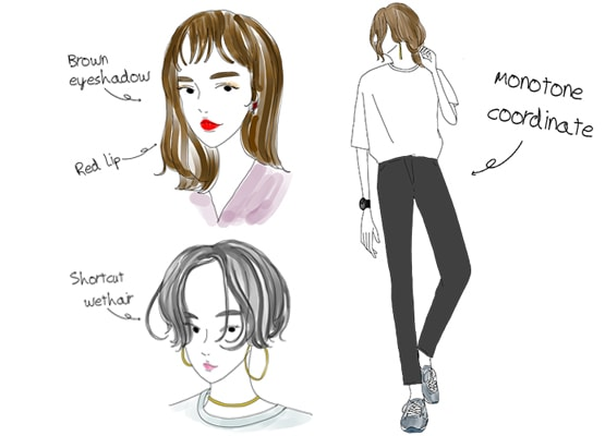 イラスト解説】かっこいい女の特徴7つ<髪型、服装、メイクの