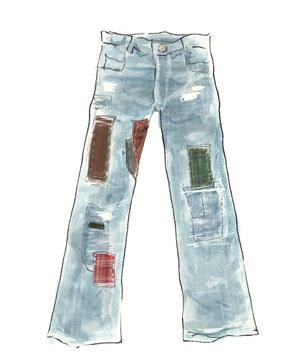 70年代ファッションアイテム「リペアデニムベルボトム」