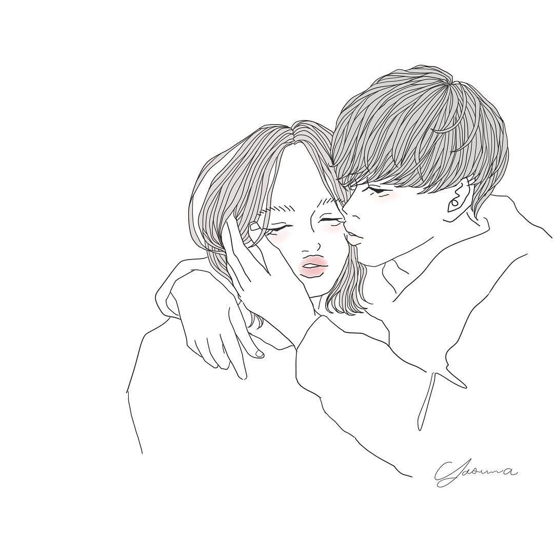 女性のまぶたにキスする男性