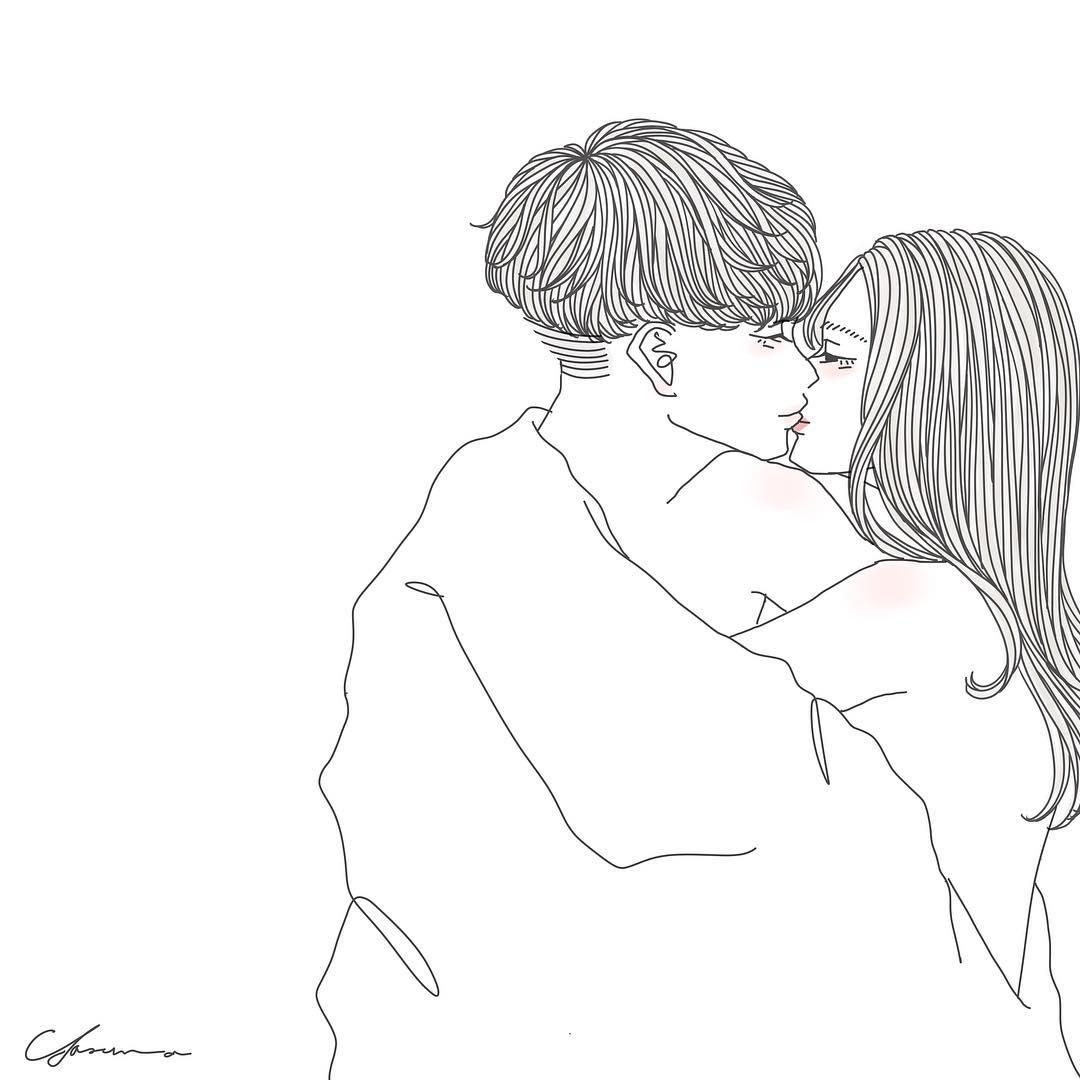 唇にキスするカップル