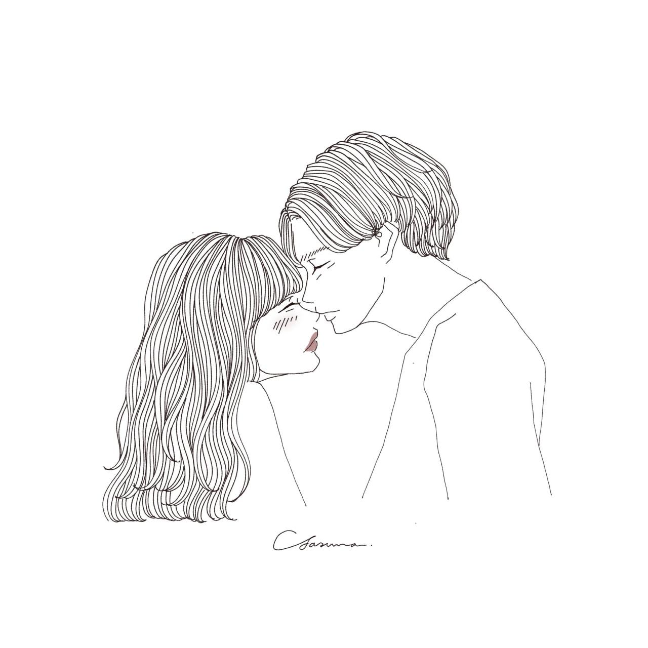 女性の鼻にキスする男性