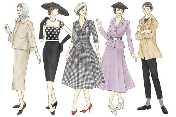 イラストで解説! 50年代のレディースファッションの特徴