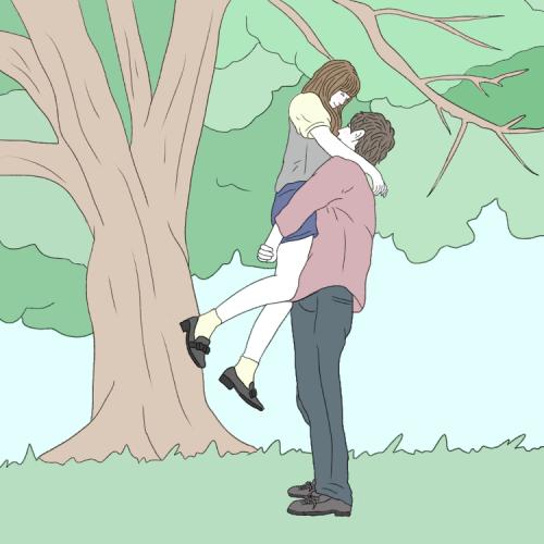 インスタカップル「彼女抱きかかえポーズ」
