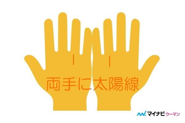 両手に太陽線がある「生涯を通じて金運、成功運、人気運が高い」