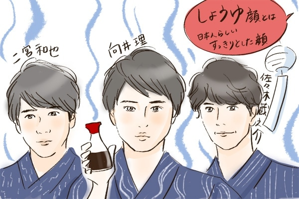 しょうゆ顔とは、日本人らしいすっきりとした顔のこと(向井理、二宮和也、佐々木蔵之介)