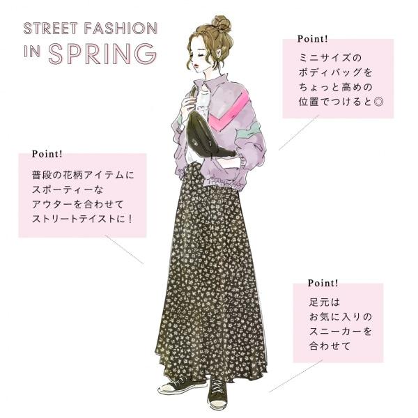 春のレディースストリートファッション