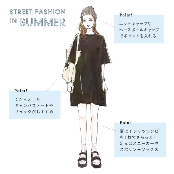 夏のレディースストリートファッション