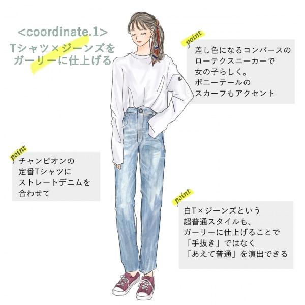 ノームコアファッション1「Tシャツ×ジーンズをガーリーに仕上げる」