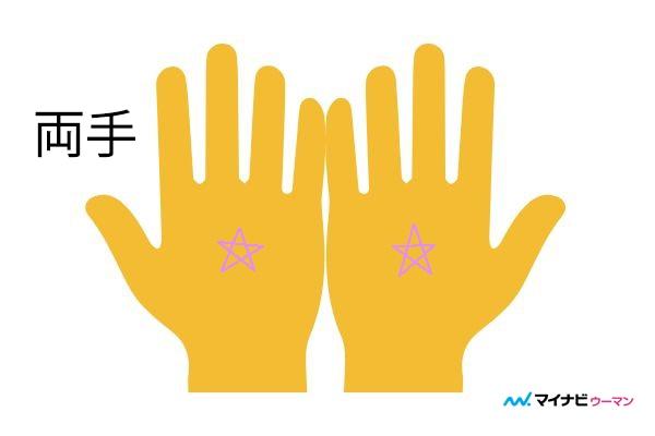 両手に五芒星「恵まれた人生を送る」