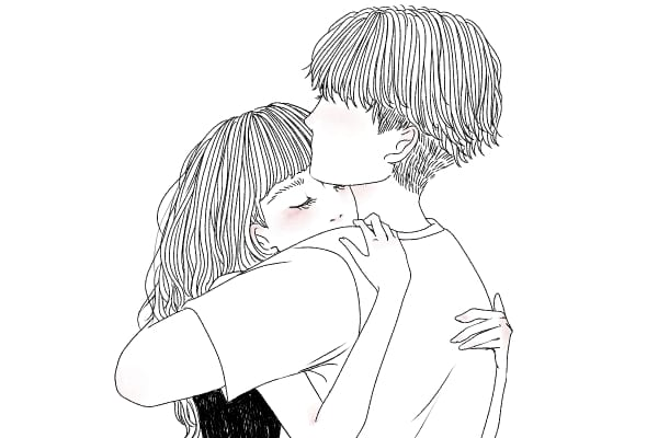 正面からお互いに抱き合うハグ