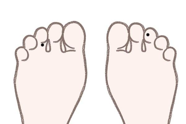 足の中指のほくろ裏側にある場合⇒いつも満ち足りた気持ちで過ごせる