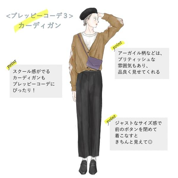 レディースプレッピーファッションの代表アイテム「カーディガン」