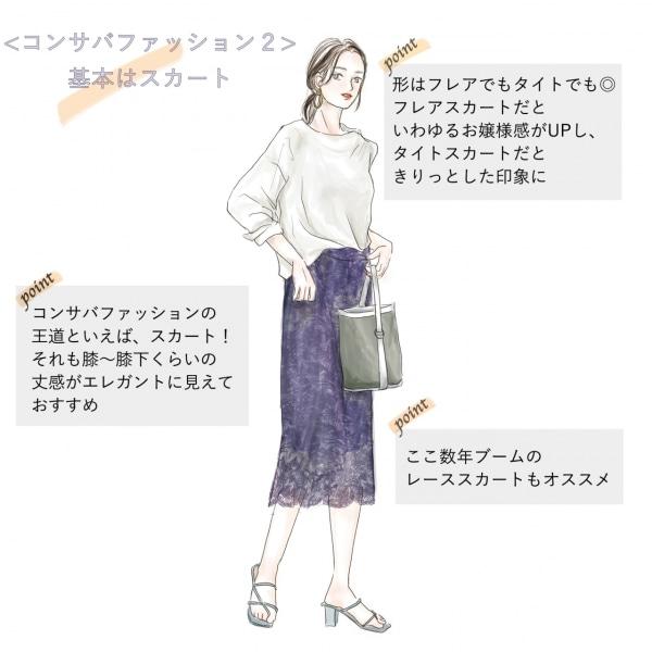 コンサバファッションの特徴(2)基本はスカート
