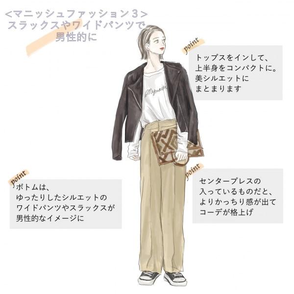 マニッシュファッション(3)スラックスやワイドパンツで男性的に